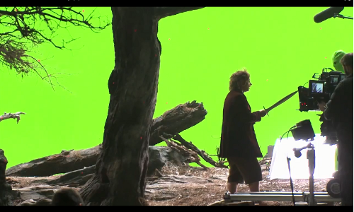green screen of The Hobbit