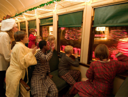Children on The Polar Express Train Ride